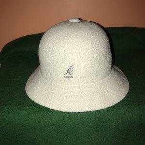 White Kangol bucket hat